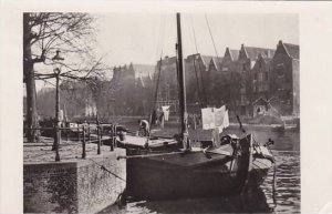 Netherlands Amsterdam Oude Schans Canal Scene Real Photo 1950