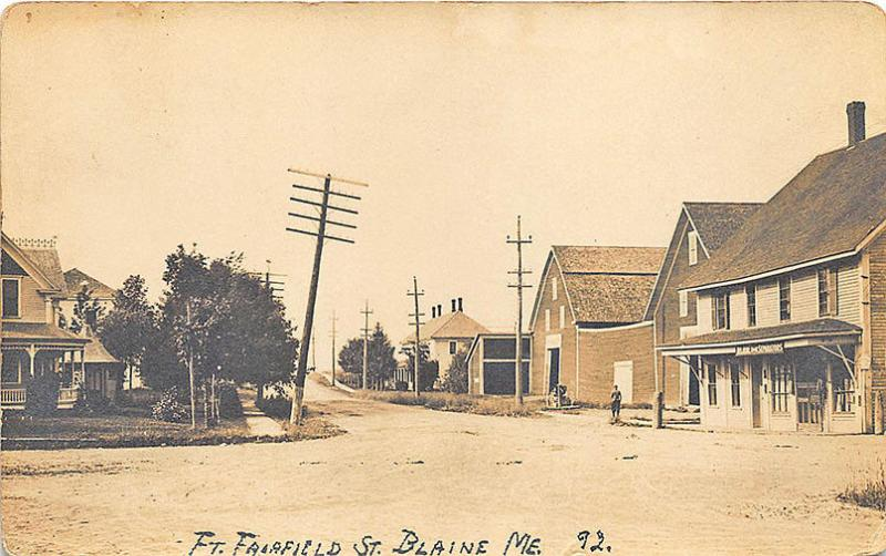 Blaine ME Ft Fairfield Street Store Front Feed Store RPPC Postcard