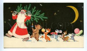 130559 SANTA CLAUS Ded Moroz & Animals old Russian Color PC