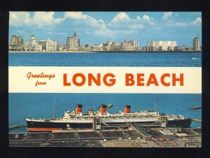 Long Beach, California/CA Postcard, Queen Mary, Long Beach Skyline, Near Mint!