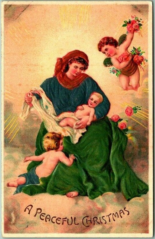 Vintage A PEACEFUL CHRISTMAS Embossed Postcard Mary Baby Jesus Angels c1910s
