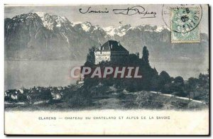 Clarens Old Postcard Chateau du Cahtelard and Alps of Savoy