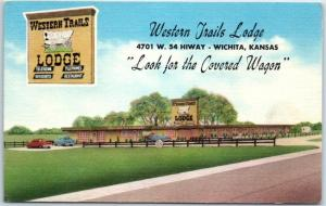 Wichita, Kansas Postcard WESTERN TRAILS LODGE Highway 54 Roadside Linen 1950s
