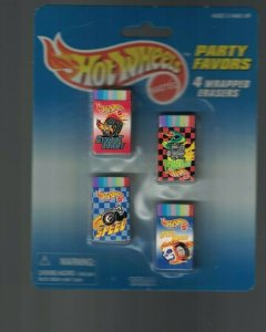 Hot Wheels Party Favors 1997 4 Wrapped Erases on Card