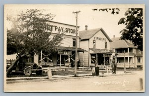 THOMPSON PA GAS STATION STREET STORE FRONTS ANTIQUE REAL PHOTO POSTCARD RPPC