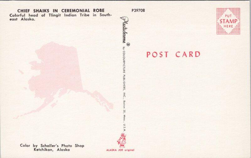 Chief Shaiks Alaska Tlingit Native American Indian Chief Unused Postcard G5