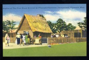 Nice Plymouth, Mass/MA Postcard, Replica Of First Pilgrim House #2, Near Mint!