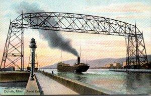 Minnesota Duluth Freighter Passing Under Lift Bridge
