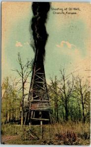 Chanute, Kansas Postcard Shooting of Oil Well Derrick Gusher - 1910 Cancel