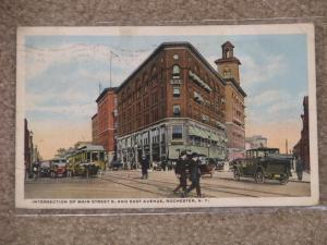 Intersection of Main St. E. & East Ave., Rochester, N.Y., used vintage card