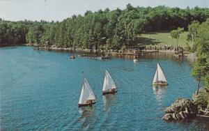 Sail Boats On Waterfront, Manitou-wabing Camp of Fine Arts, McKellar, Ontario...