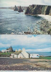 John O Groats Stacks Of Duncasby + Hotel 2x Scottish Postcard