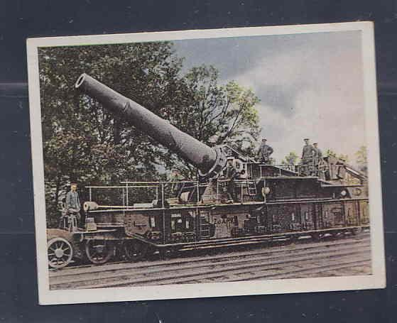 GERMANY TOBACCO CARD WWI 6x5 cms. CANNON ON TRAIN AAD5195