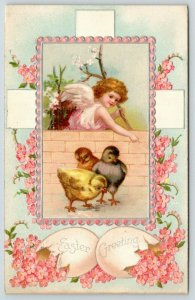 Clapsaddle Easter~Pink Angel Girl Watches Black Red Yellow Chicks~Silver Emboss