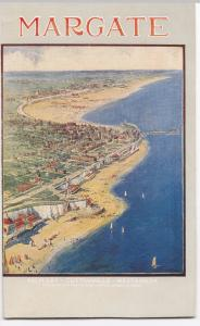 Kent; Margate, Artist Drawn Overhead View PPC, Unposted, c 1930's