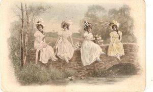 M.M.Vienne. Four Elegant ladies sitting on a bridge Vintage Austrian PC