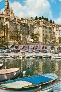 Old Postcard Menton A corner of Harbor and Old Town