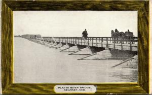 Kearney Nebraska~Horseback Rider~Buggy on Platte River Bridge~1908 Postcard