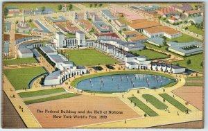 1939 New York World's Fair Postcard Federal Building & Hall of Nations Linen