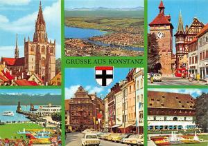 Gruesse aus Konstanz, Kirche Gesamtansicht Auto Cars Hafen Schiff Brunnen