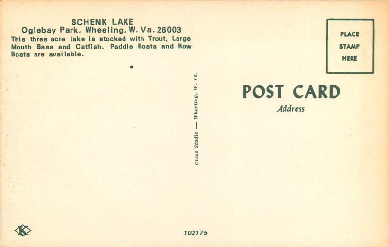 Schenk Lake Oglebay Park Wheeling WV West Virginia fishing Postcard