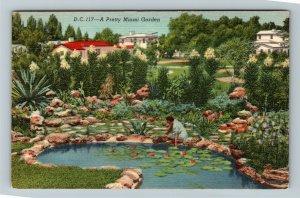 Miami FL-Florida,Scenic Miami Rock Garden,Pond,Plants,Cactus,Linen c1947Postcard