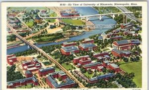 University Minnesota Postcard Air View Campus Minneapolis Curteich Linen 1940s