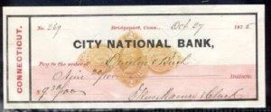BRIDGEPORT CT - CITY NATIONAL BANK / BANK CHECK + REVENUE STAMPED PAPER 1875