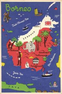 indonesia, BORNEO, Kalimantan Sarawak Map Postcard, Elephant, Oil Coal (1940s)