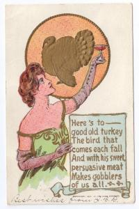 Pretty Lady Toasts Turkey Vintage Rose Co Thanksgiving Postcard Embossed 1907