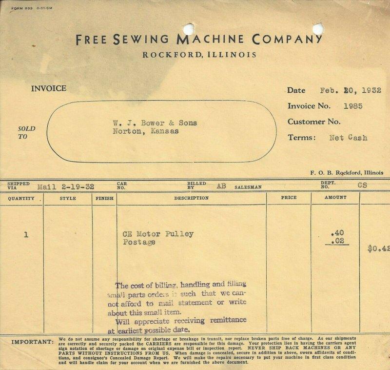 Free Sewing Machine Company Rockford Illinois Feb. 20, 1932 Invoice