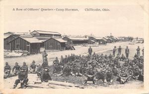 Chillicothe Ohio~WWI Camp Sherman~Row of Officers Quarters~Soldiers at Ease~1917