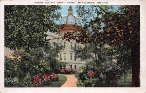 Oneida County Court House, Rhinelander, Wisconsin, Early Postcard, Unused
