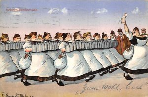 Comic, Women with Beer Steins  Postcard PU Unknown