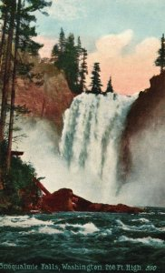 Snoqualmie Falls, Washington, WA, Divided Back Vintage Postcard g8240