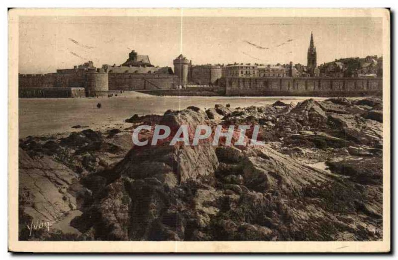 Old Postcard Cote D Emeraude Saint Malo City View Fort National
