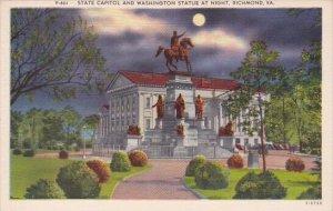 Virginia Richmond State Capitol and Washington Statue At Night