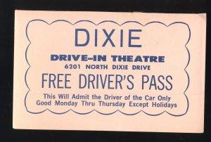 1960's Dixie Drive-In Theatre Driver's Pass (Pink), Northridge, Ohi...