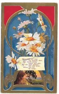 Daisies Love Romance Dearest Vintage Embossed Poem Postcard