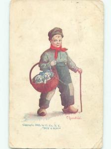 Pre-Linen signed BOY WITH BASKET OF PUPPY DOGS AC1809