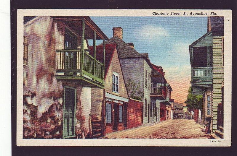 P1581 vintage unused postcard colorful charlotte street st augustine florida