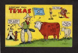 TX Greetings From Texas Cowboy Bull Linen Comic Texas Postcard H Dean  Signed