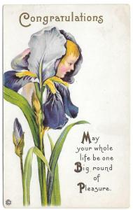 Fantasy Flower Face Iris Girl Vintage Stecher Postcard