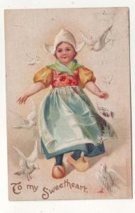 P159 JL 1907-15 postcard dutch child doves to my sweetheart