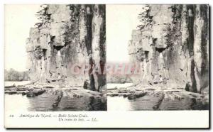 Stereoscopic map - USA - North America - Dalls Winsconsin - Holy Cross - A raft