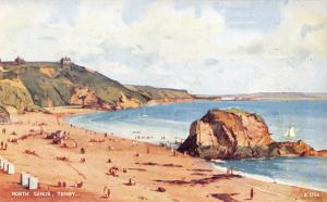 TENBY WALES UK~ARTIST EDWARD HAILEY WATER COLOUR~LOT OF 4 POSTCARDS