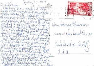 Italy 1953 Postal History Letter to USA Continental Size Perugia stamp