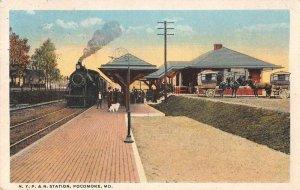 Pocomoke City Maryland NYP and N Train Station Railroad Depot Postcard AA1731