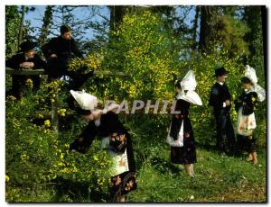 Postcard Modern Girls Celtic ceercle Ar Roued of Concarneau Gals picking the ...