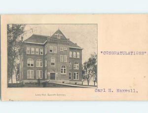Pre-1907 LEWIS HALL AT EPWORTH SEMINARY Postmarked Epworth Iowa IA A1755